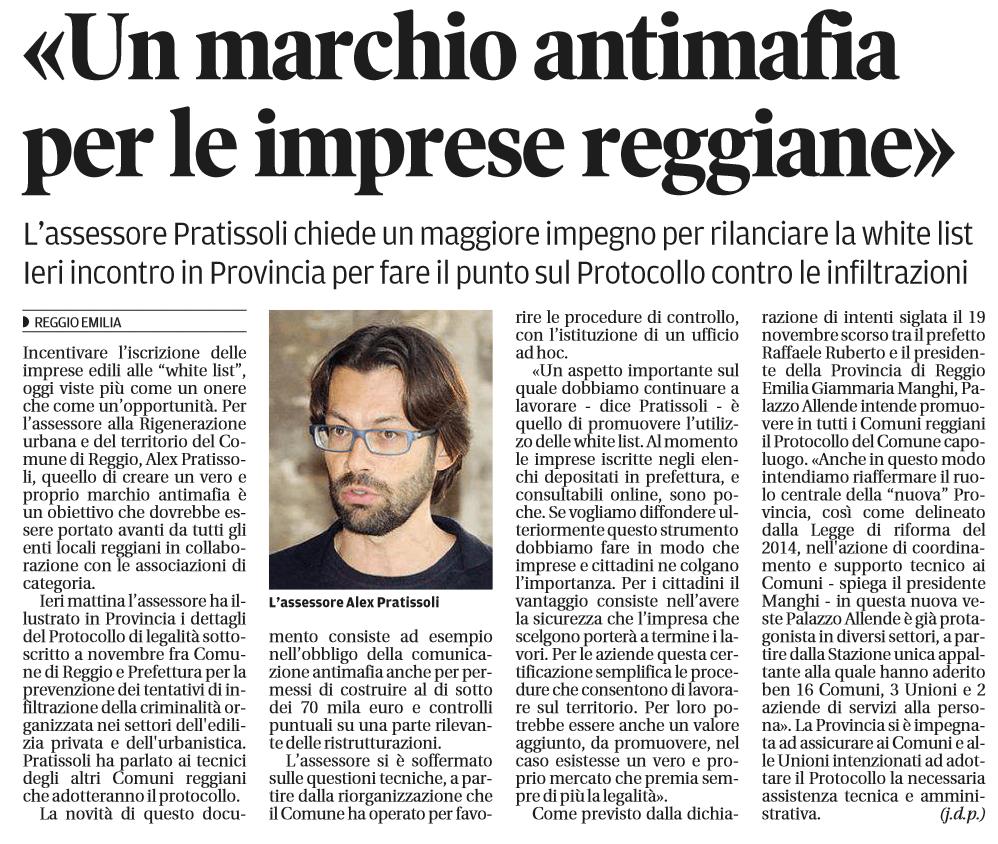 Gazzetta di Reggio – 1 marzo 2016